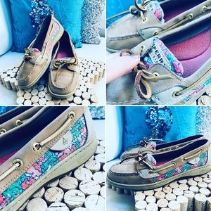SPERRY Top-Siders Leather Floral Sequins w/tan 9.5